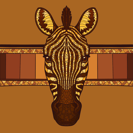t�te de z�bre: Zebra t�te mascotte avec l'ornement ethnique. Isolated illustration vectorielle. Pas de gradients