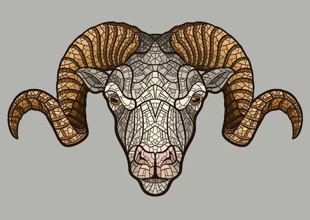 Ram Kopf isoliert. Illustration ideal für ein Maskottchen und T-Shirt-Grafik.