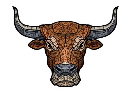Bull head isolated in mosaic style. Stock Illustratie
