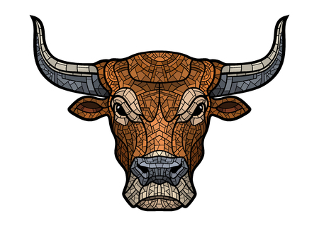 Bull head isolated in mosaic style. Illustration