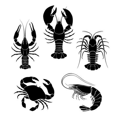 Set of the seafood crustaceans silhouettes.