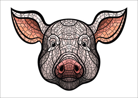 oink: Pig head in mosaic style.