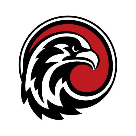 diseño del águila. Salvaje cabeza de halcón halcón pájaro en círculo. Ilustración de vector