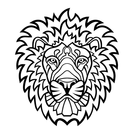 predators: A Lion head mascot. tattoo illustration