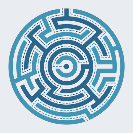 Circle maze illustration on simple background with tracks