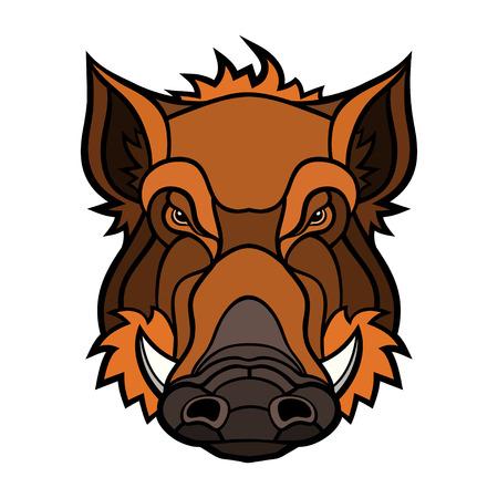tooth mascot: Head of boar mascot color design.