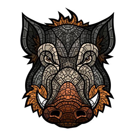 eber: Leiter Wildschwein Maskottchen Farbe im Mosaik-Stil.