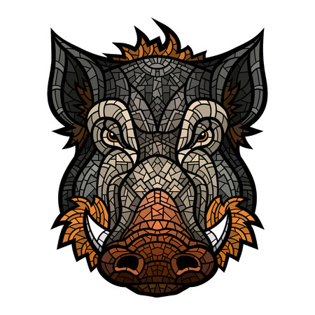 Head of boar mascot color in mosaic style.