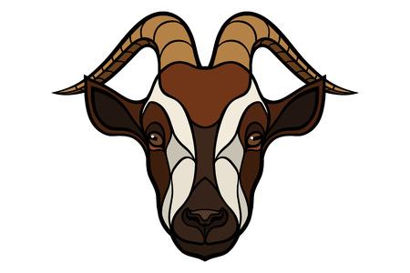 image of colored goat head isolated on white background Çizim