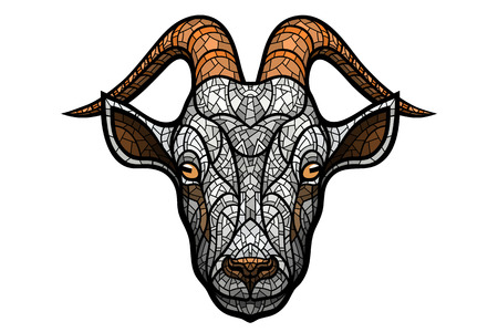Goat head on white background in mosaic style.
