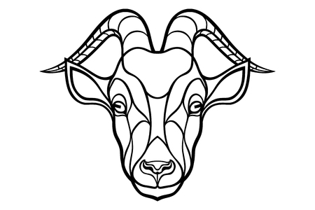 animal head: Goat head coloring silhouette on white background. Illustration