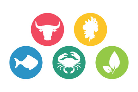 Meat, fish, chicken, vegetarian, seafood flat icons silhouette set.