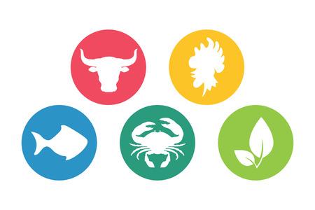 Vlees, vis, kip, vegetarisch, vis vlakke pictogrammen silhouet set. Stock Illustratie
