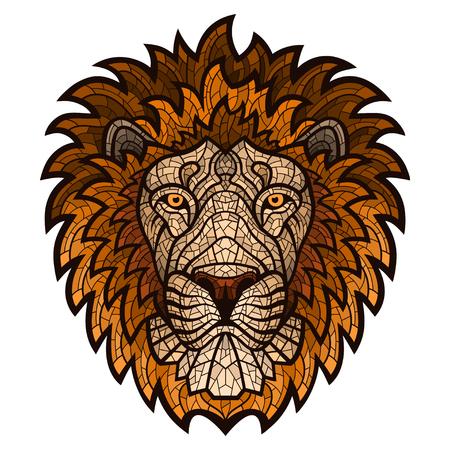 Ethnic patterned ornate hand drawn head of Lion. Çizim