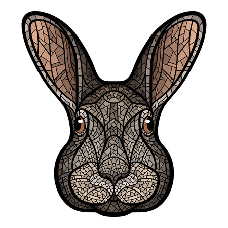 Head of a rabbit, hare isolated colour illustration in mosaic style Çizim