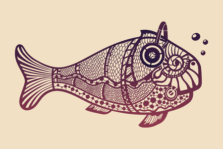 Fish with headphones. This is ornate isolated illustration ideal for a T-shirt graphic or poster