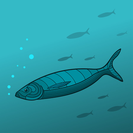 Shoal of Fish. The illustration of shoal of fish in deep water.