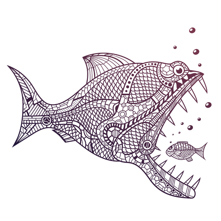 Deep water predator fish attacking little fish. This is isolated vector illustration ideal for a T-shirt graphic or poster