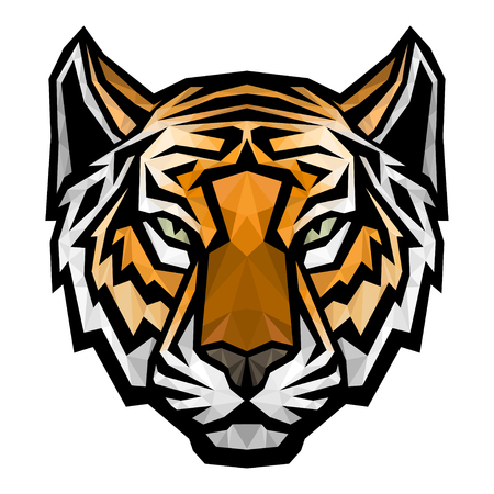 tiger hunting: Tiger head logo mascot. Vector polygonal colored isolated illustration
