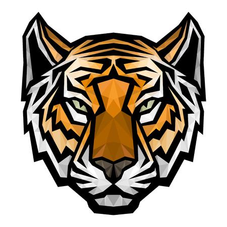 tigre caricatura: Tiger logotipo de cabeza de la mascota. Vector ilustración de colores aislados poligonal