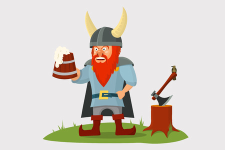 Cartoon viking with beer mug in hand and axe on simple background.  Vector illustration.