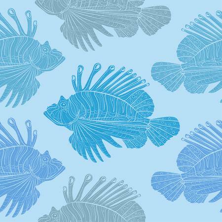 Lionfish. Venomous marine fish seamless vector pattern.