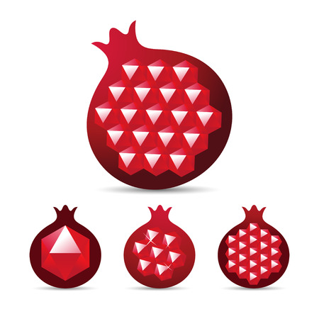 ruby gemstone: Pomegranate with gemstone ruby garnet seed. Vector illustration