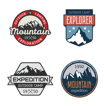 ice ax: Set of vintage mountain outdoor labels. Vector logo