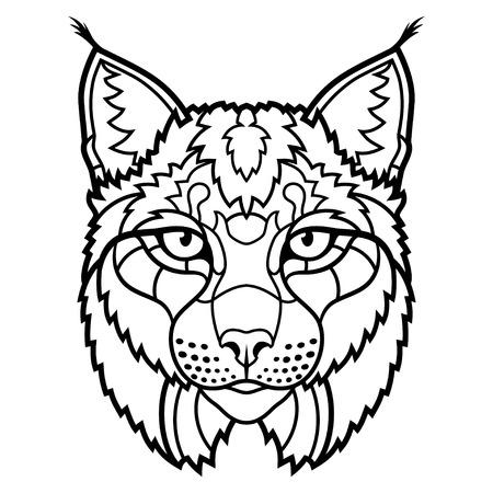 lince: línea arte bosquejo cabeza de lince salvaje mascota. ilustración vectorial Vectores