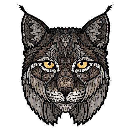 lince: la cabeza de la mascota del lince salvaje. Esta es aislado ilustración vectorial ideal para un gráfico de la camiseta Vectores