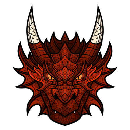 Head of dragon mascot color in mosaic style. This is isolated vector illustration ideal for a T-shirt graphic