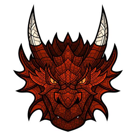 Kopf des Drachen-Maskottchen Farbe im Mosaik-Stil. Dies ist Vektor-Illustration ideal für ein T-Shirt mit Grafik isoliert