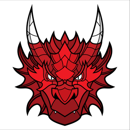 Dragon head mascot. This is isolated vector illustration ideal for a T-shirt graphic Vettoriali