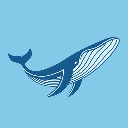 L'icône de la baleine bleue. Vector logo d'illustration isolé