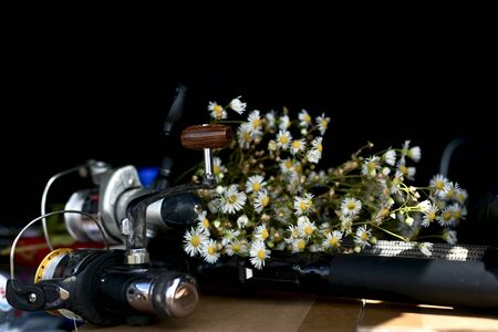 Two fishing rods with coils and a bouquet of wild white flowers on a dark background, deep in the trunk lie. Stock Photo