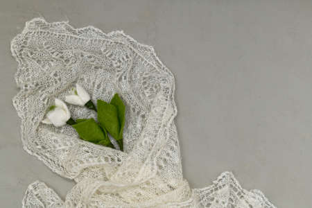 Handmade wool flowers as on a postcard with empty space on the right against the background of knitting a downy shawl, partly from the bottom of the frame. Stock fotó
