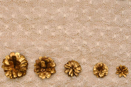 Delicate warm background, five golden cones horizontal next to in descending size order on the knitted a solid canvas.