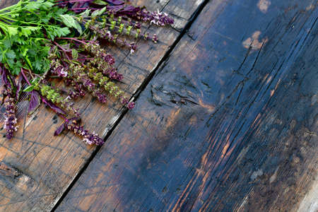 Basil flowers with parsley on a wooden table top. In the upper left corner, diagonally. Stock fotó