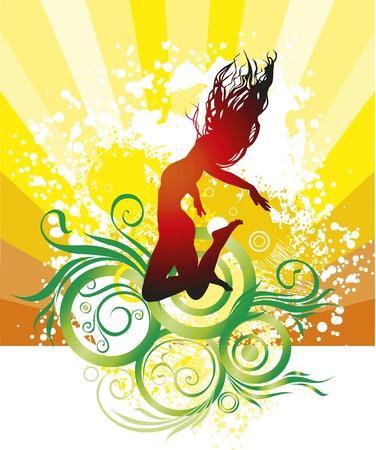 euphoric: La ragazza, estate, una spiaggia, un salto Vettoriali