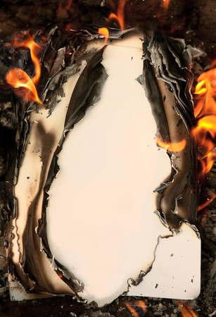 Background from an old burning paper photo