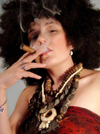 cigar smoking woman: portrait Stock Photo