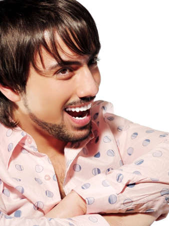 instigator: Young beautiful laughing brunette closeup Stock Photo