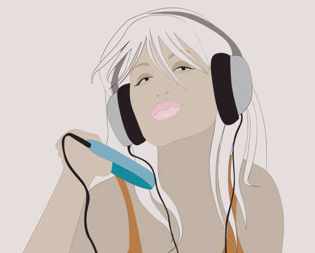 blondie: Young girl with player listen to the music Stock Photo