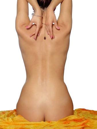 mujer desnuda de espalda: Mujer joven hermosa espalda