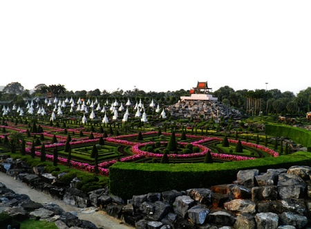 happieness: A garden in Thailand with many temples