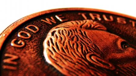 enlarged: Un penny allargata Archivio Fotografico