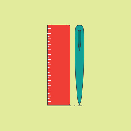 Pen and Ruler, for use in commercial office equipment display campaign tool, with stylish retro design, icon Иллюстрация