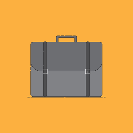Briefcase, for use in commercial office equipment display campaign tool, with stylish retro design, icon Illustration