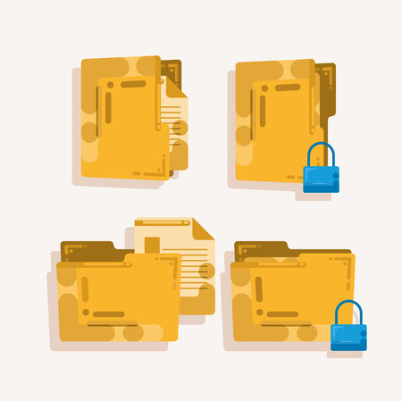Set of four computer folder icons with unique vector styles
