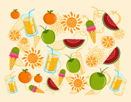 Cute summer background with orange juice, watermelon, ice cream, sun and head icon Imagens - 122568408